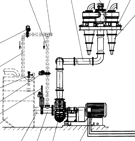Cyclone, pumps and hopper schematic