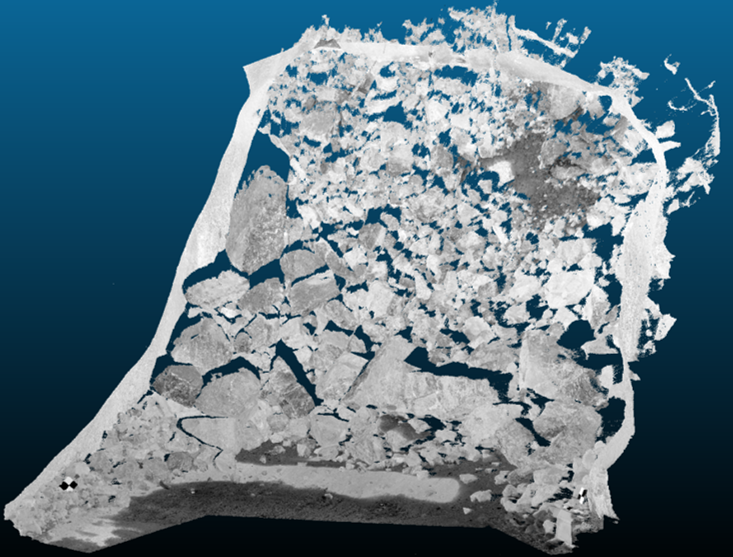 Lidar data for a block cave drawpoint
